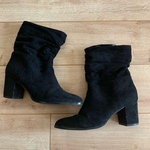 Nine West black velvet boots.